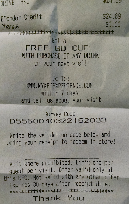MyKFCExperience Survey Code Example