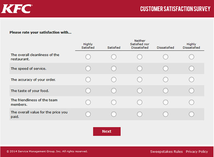 MyKFCExperience Survey Questions